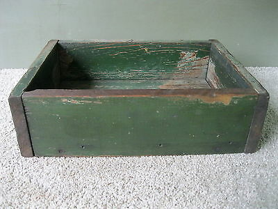 Antique Shipping Box, Shadow Box, Vintage Primitive Wood, Old Green Paint