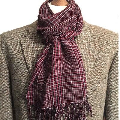 New Men's Summer Scarf/neckerchief. Red Check. Super Soft ,lightweight
