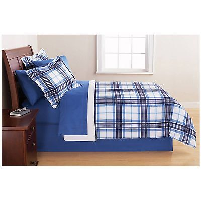 Mainstays Blue Plaid Bed in a Bag Complete Bedding Set Full
