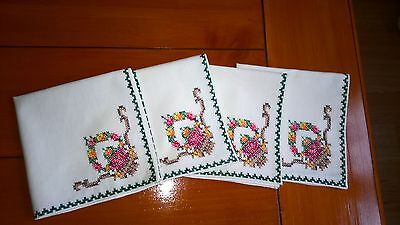 4 Vintage Embroidered Napkins/ Handkerchiefs, Colourful Cross Stitch Design