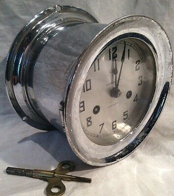 Antique Waterbury Jeweled Chrome Plated Brass Ship's Clock W Ships Bell
