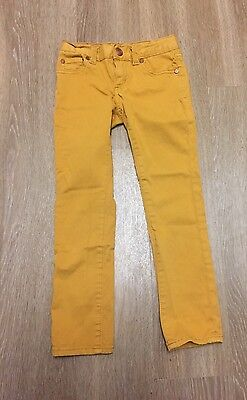PEEK Dungarees Girl's Skinny Jeans Mustard Color Adjustable Waist Size: 6