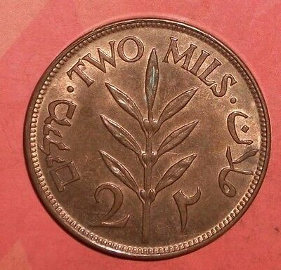 Palestine, 2 Mils, 1927, Unc / BU, perfect red coin, scarce this nice..just LOOK
