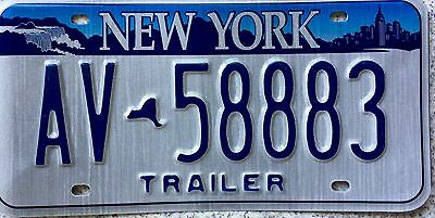 GENUINE New York Empire State USA Trailer License Licence Number Plate AV 58883