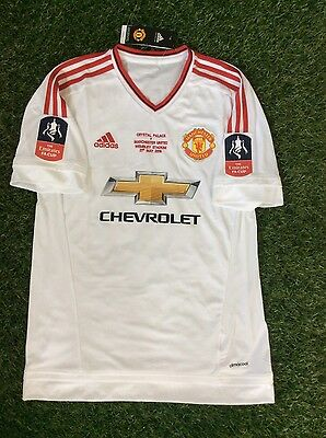 Manchester United Adidas Shirt size M Anthony Martial 9 FA Cup Sleeve Patches