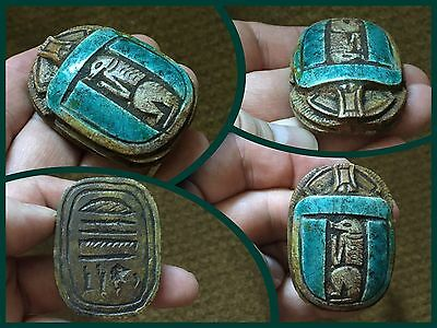 Large Carved Stone Faience Egyptian Hieroglyphics Scrabble Beetle 300 BC