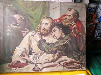 Antique Original Oil Painting On Canvas A Scene From The Last Supper Unframed