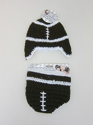 So Dorable Football Hand Crocheted Hat & Diaper Cover - Infant 0-6 Months - NWT