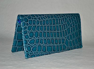 Checkbook Cover w-Copy Panel or Coupon Holder~Handmade~*Sharp Faux Leather Croc*