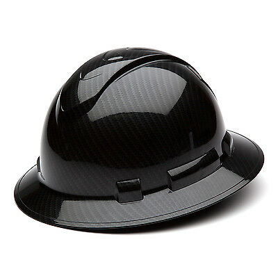 Pyramex Ridgeline Hard Hat Shiny Graphite Pattern Black Full Brim, HP54117S