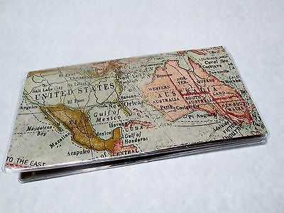 Vintage Map Checkbook Cover Fabric & vinyl protector Teachers, Travelers