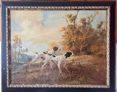 Dog Painting Hunt English Pointer A. D. Greer Oil Art original signed