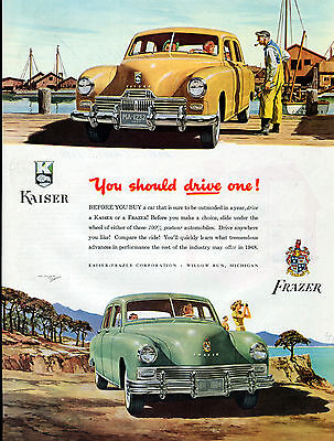 1947 Kaiser-Frazer car ad -100 % postwar automobile-[-194
