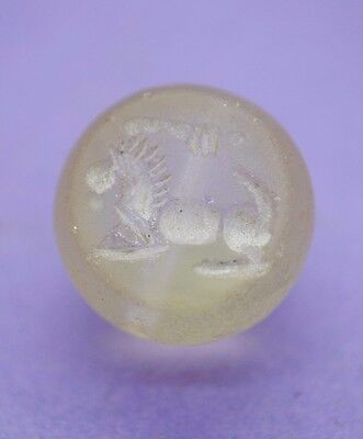 Antique rock crystal/quartz seal with zoomorphic impression