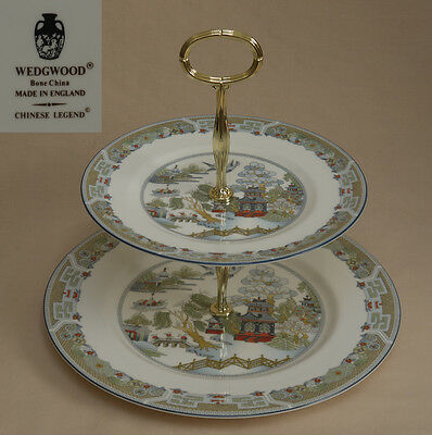 """Wedgwood """"Chinese Legend"""" (Blue Trim) TWO TIER CAKE STAND"""