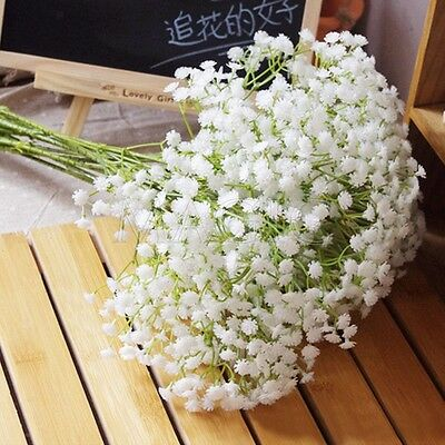 Artificial Flowers Fake Silk Floral White Gypsophila Wedding Party Bouquet Decor
