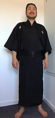 Authentic vintage Japanese black silk kimono for men, Japan import, M (M1527)