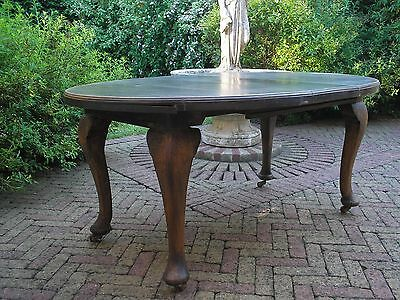 OLD ANTIQUE 19th CENTURY OVAL EXTENDING DINING TABLE WITH EXTENSION LEAF & HAND
