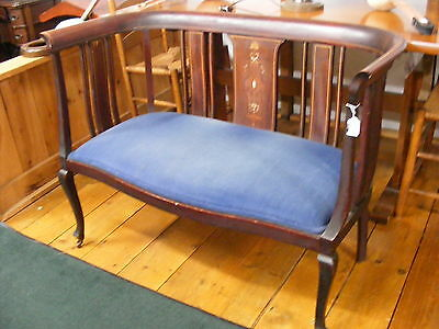 Antique mahogany Settee with inlay and blue velvet seat