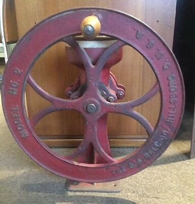 Antique 1880's C. S. Bell Model No. 2 Hand Crank Bench Grist Mill Coffee Grinder