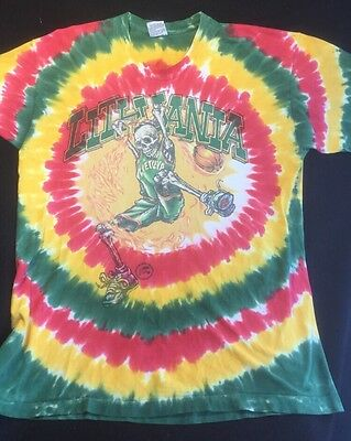 Vintage 90's Grateful Dead Lithuania Basketball Olympics Tie Dye Shirt XXL USA