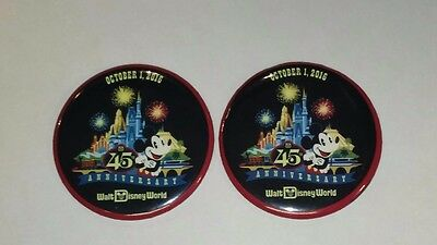 Disney Buttons, Magic Kingdom 45th Anniversary, set of 2, new and fresh, 2016