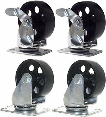 """4 Pack Steel Swivel Plate Casters and 2 with Brake Lock 3.5"""" Wheel 1300lb"""
