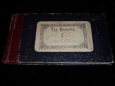 Antique 1890's Company Tax Receipt Book, Cook County South Chicago, Calumet, VG
