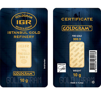 10 Gram IGR Mint 999.9 Gold Bar Sealed with Assay Certificate 24 Karat