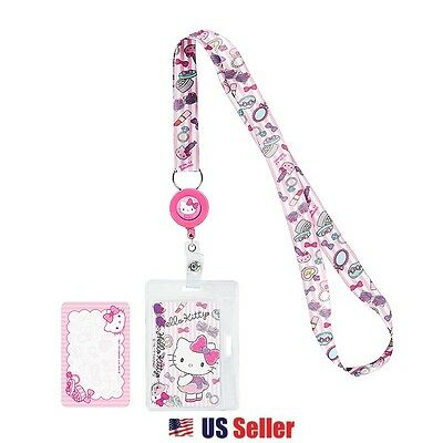 Sanrio Hello Kitty Lanyard Key Leash ID Badge Reel KeyChain : Girly Pastel Kitty