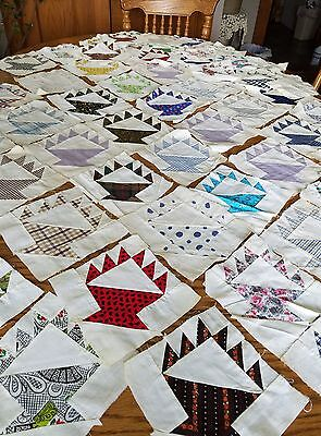 58 Antique Vintage Handsewn Quilt Basket Panels Blocks Cotton Some Feedsack