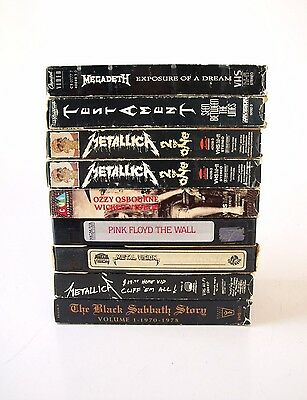 Lot Of 9 Heavy Metal VCR VHS Video Tapes Metallica Pink Floyd Megadeth Ozzy Rock