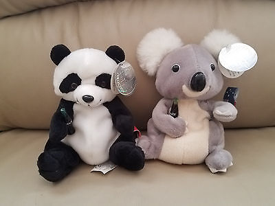 Coca-Cola Bean Bag Plush Lot of 2 Panda Bear & Koala Bear
