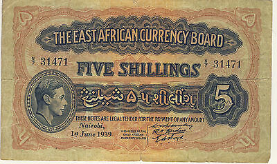 East Africa Currency Board 5/- 5 Shillings George VI 1st June 1939, estate sale