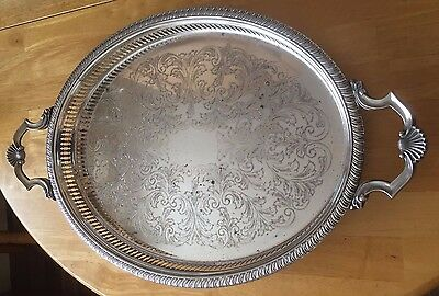 Large vintage oval   serving tray with handles
