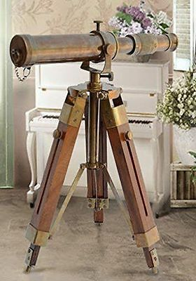 Nautical-Brass-Antique-Telescope-Spyglass-With-Wooden-Stand-Home-Decor