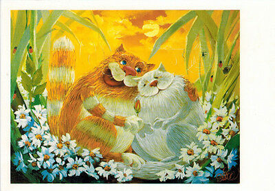 THESE CATS ARE IN LOVE! Red and white cat among flowers Modern Russian card