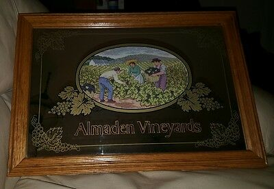 "Almaden Vineyards Oak Framed Mirror Bar Wine Decor (20.5""x 14.5"")"