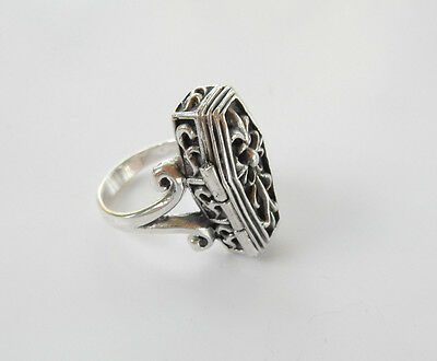 Sterling Silver Gothic Skeleton in Coffin Ring Hallmarked Size 8