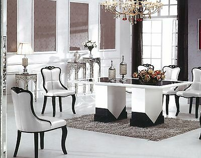 Black and White marble dining table with 8 Chairs, BRAND NEW