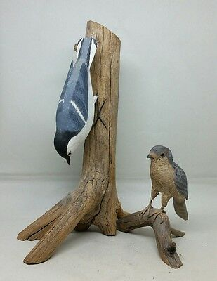 Pair of Hand Carved Painted Realistic Birds Nut Hatch Cooper Hawk Signed