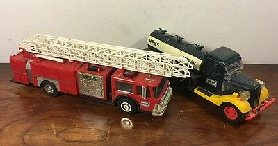 2 Vintage Hess Toy Bank Fire Engine Truck First Gasoline Truck Toy