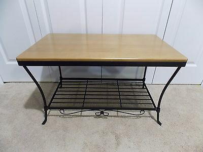 * LONGABERGER * Wrought Iron (FOYER BENCH / COFFEE TABLE) WoodCrafts WARM Brown