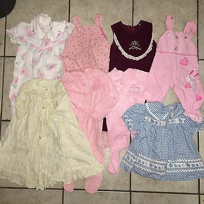 8 Piece Lot Of Vintage Baby Clothing 0-9m Jumper Dress Nightie Pink Dainty