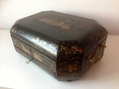 19th Century Chinese Export Lacquer Octagonal Work/Sewing Box