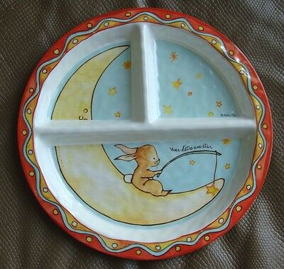 "Baby Cie Textured 9"" Divided Plate w/ Bunny, Moon & Star - French Words"