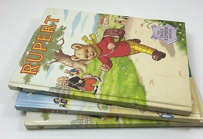 3 Vintage Rupert The Bear Daily Express Annuals - 1984 & 1994