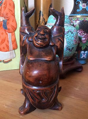 Old ANTIQUE hand carved wood standing Happy BUDDHA statue