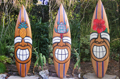"""Tiki Surfboard Mask Package Deal Wood Patio Tropical Bar 40""""  Set of 3"""