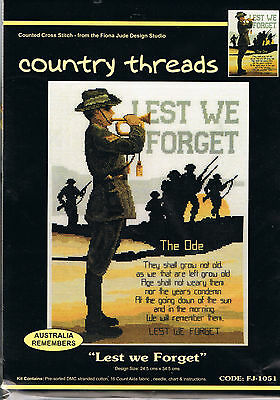 """"""" LEST WE FORGET """"  Cross Stitch Kit,  Country  Threads"""